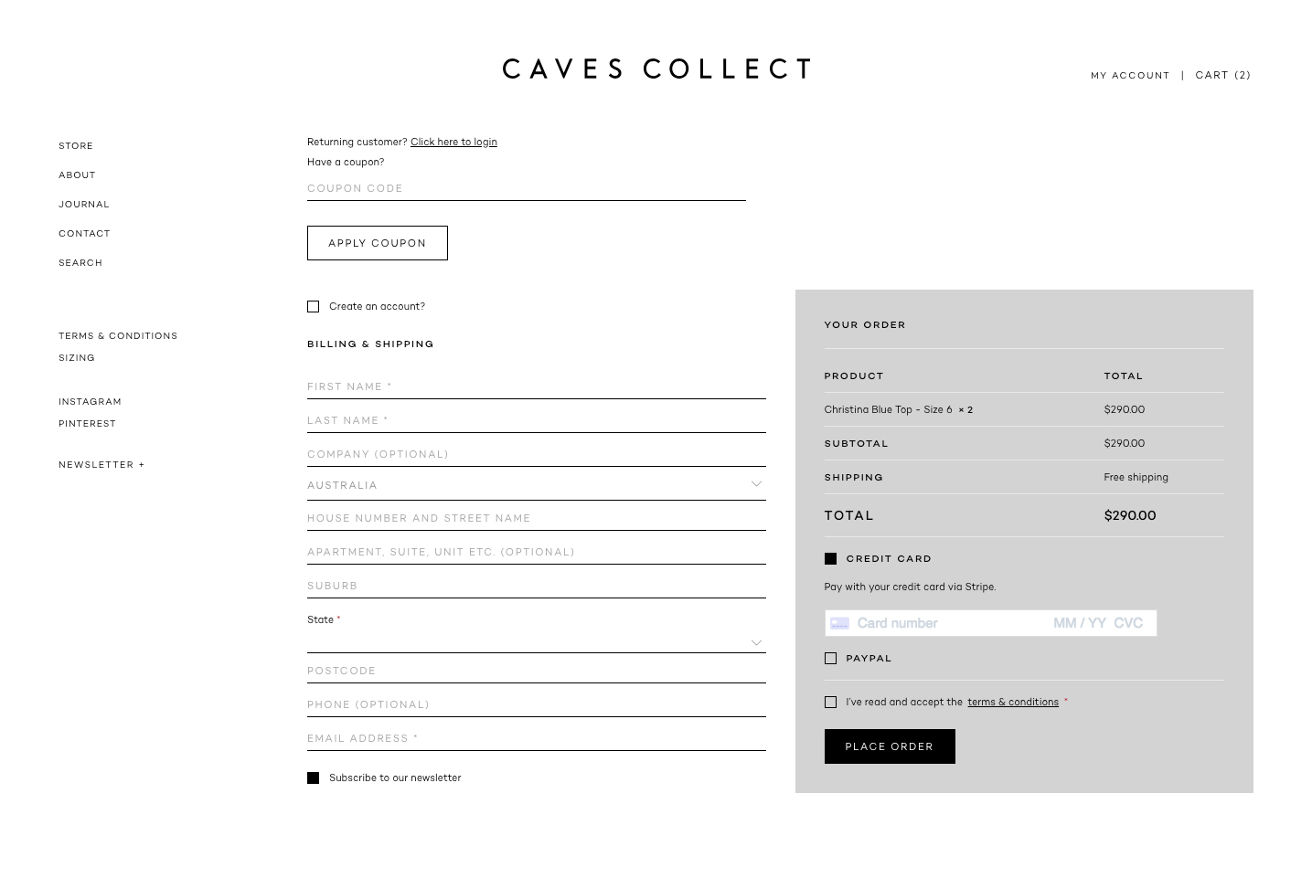 Caves Collect Website - Store Page