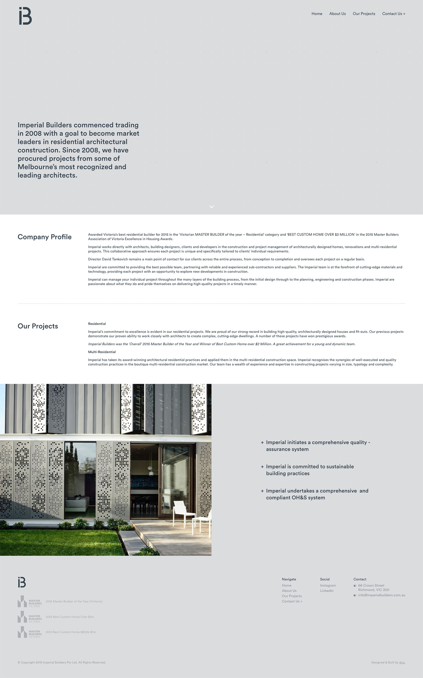 Imperial Builders Website - About Page