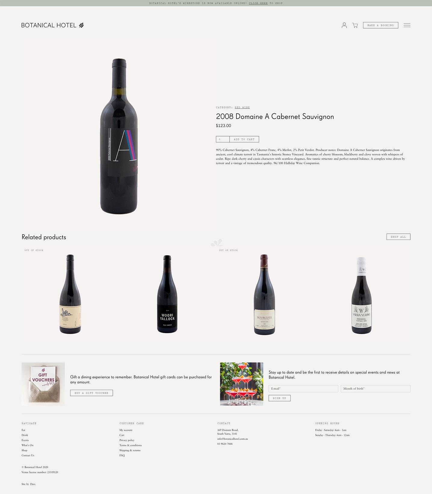 Botanical Hotel — Product Page